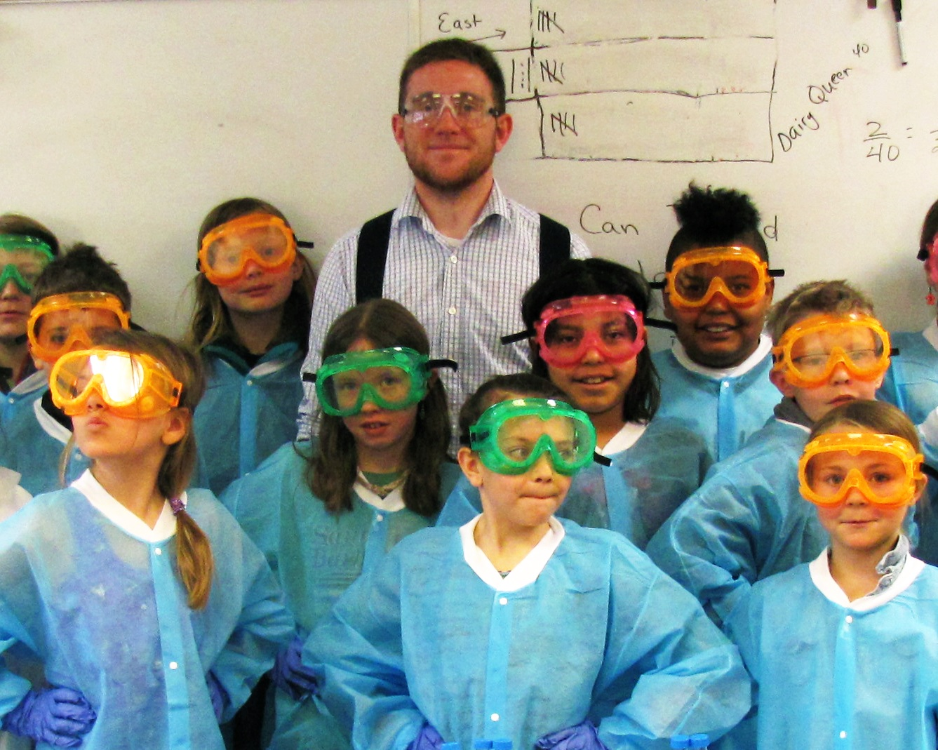 Will McGuinness with children in lab goggles
